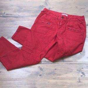 Free people red ankle cropped jeans